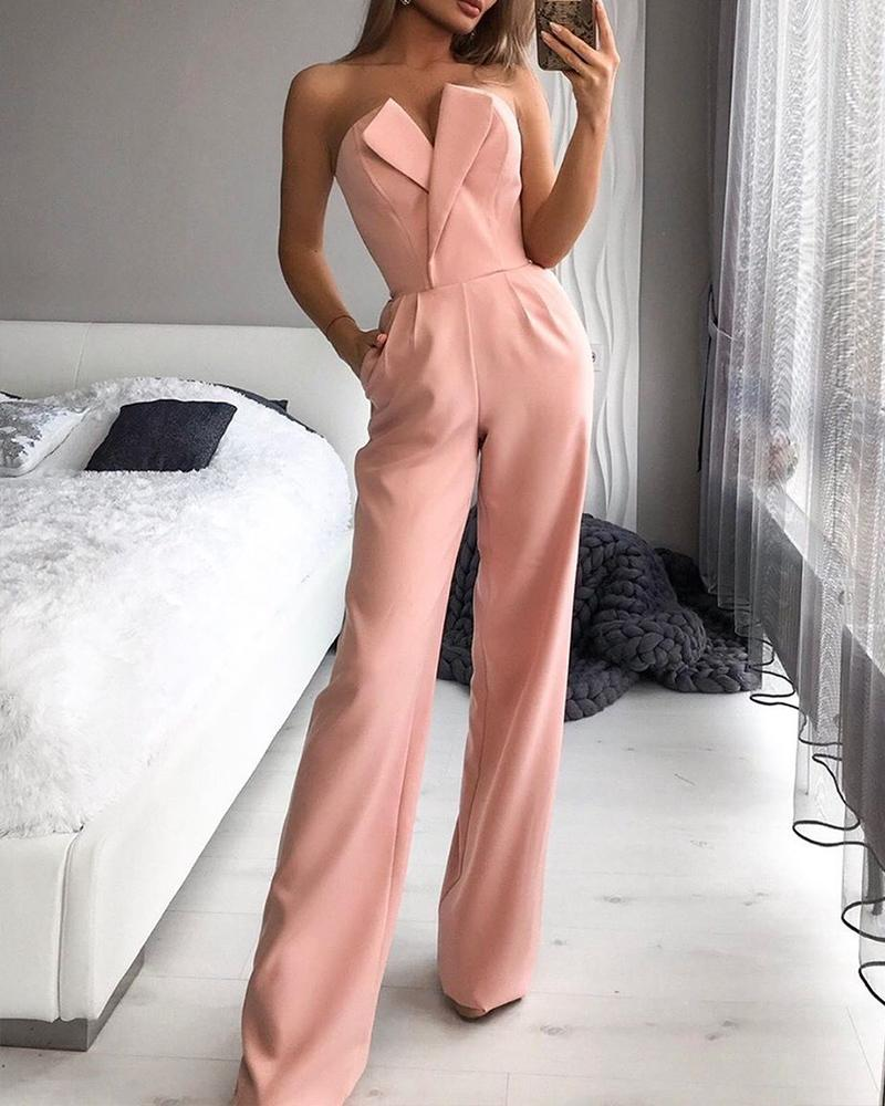 V Cut Tube Jumpsuit