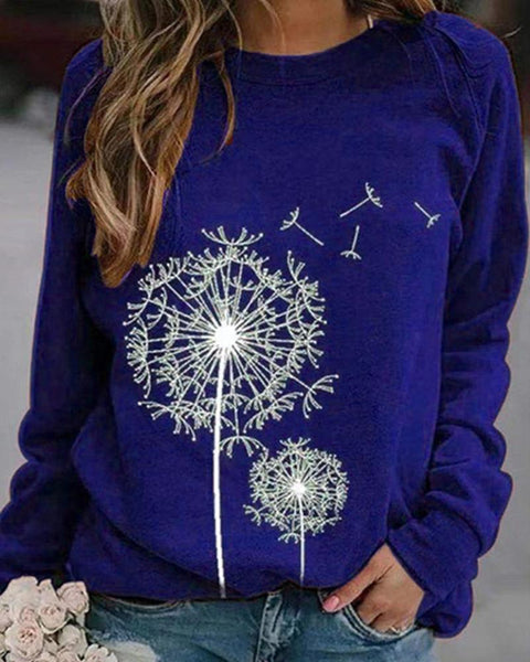 Dandelion Print Long Sleeve Loose Sweater