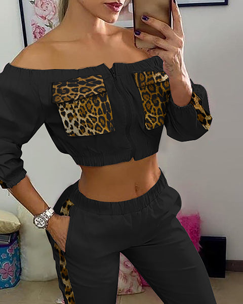 Off Shoulder Cheetah Print Top & Pocket Design Pants Set