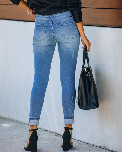 Hole Washing Slim Jean Pants