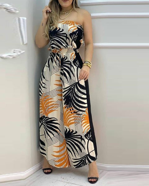 Tropical Print Bandeau Wide Leg Jumpsuit