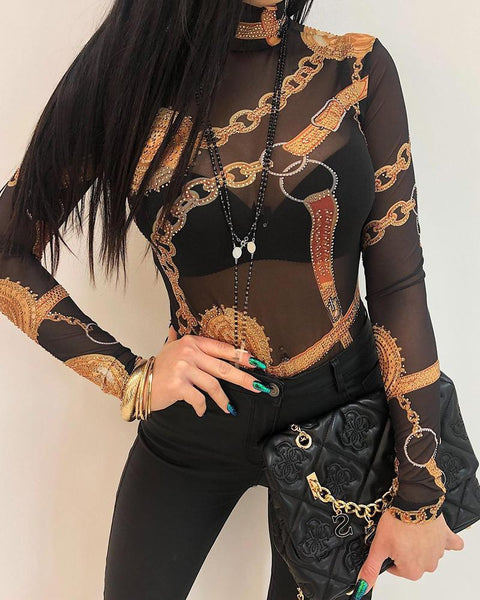 Baroque Print Long Sleeve Top