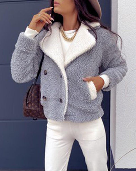 Colorblock Long Sleeve Loose Jackets