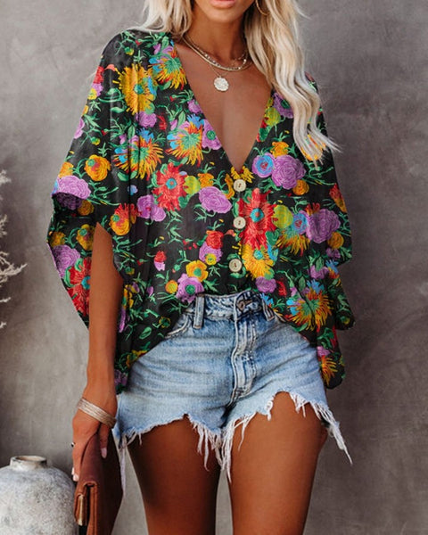 Multicolor Floral Print Flared Sleeve Blouse
