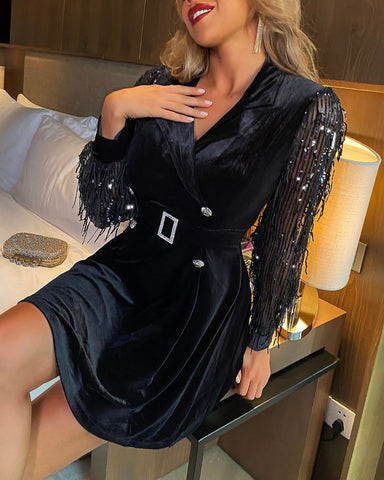 Velvet Tassel Detail Sequins Blazer Dress