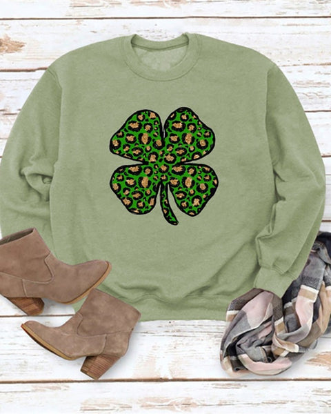 St.Patrick's Day Clover Print Round Neck Long Sleeve Top