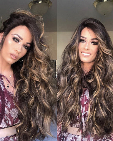 Synthetic Hair Natural Brown Long Curly Wig
