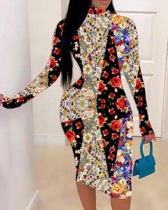 Floral Splicing Long Sleeve Skinny Bodycon Dress