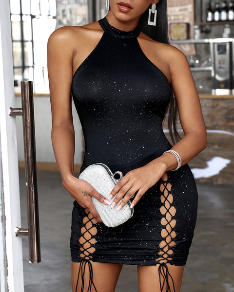 Halter Sleeveless Glitter Lace Up Bodycon Dress
