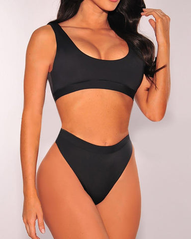 Sleeveless High Leg Swimwear Bikini Set
