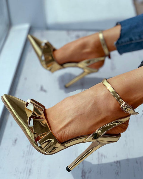 Ruffles Solid Thin Heeled Sandals