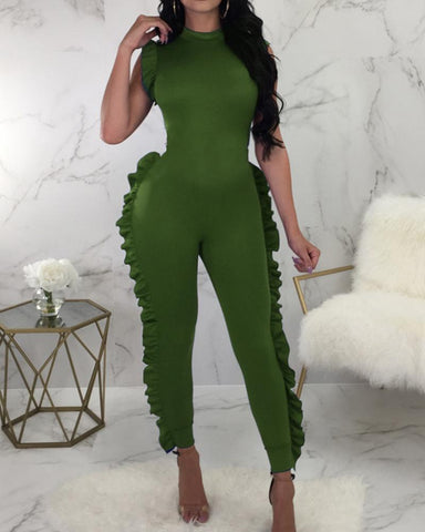Sleeveless Ruffles Bodycon Jumpsuit Long Pants One Piece Outfit
