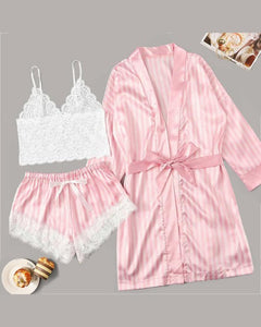 Satin Lace Trim Robe & Cami Set