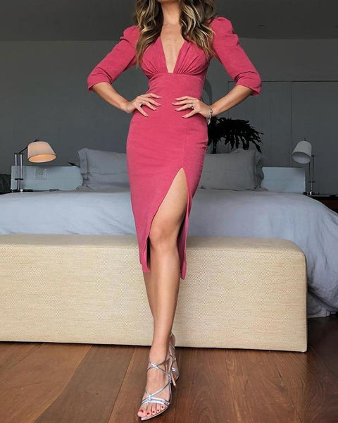 Ruched Puff Sleeve Thigh Slit Dress