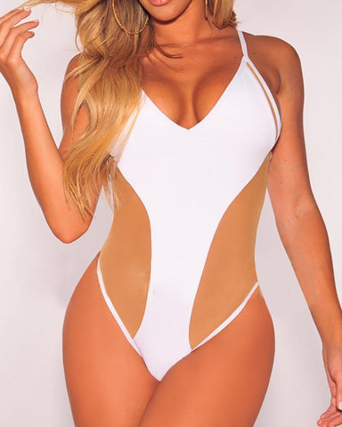Contrast Color Spaghetti Strap One-piece Swimwear