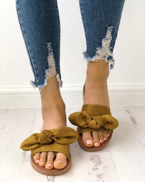 Fashion Bowknot Decorated Flat Sandals