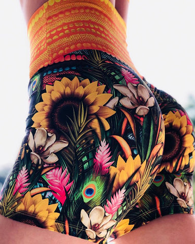 Sunflower Print High Waist Sporty Shorts