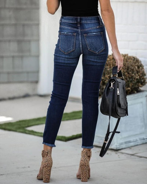 Solid Color Ripped Skinny Jean Pants