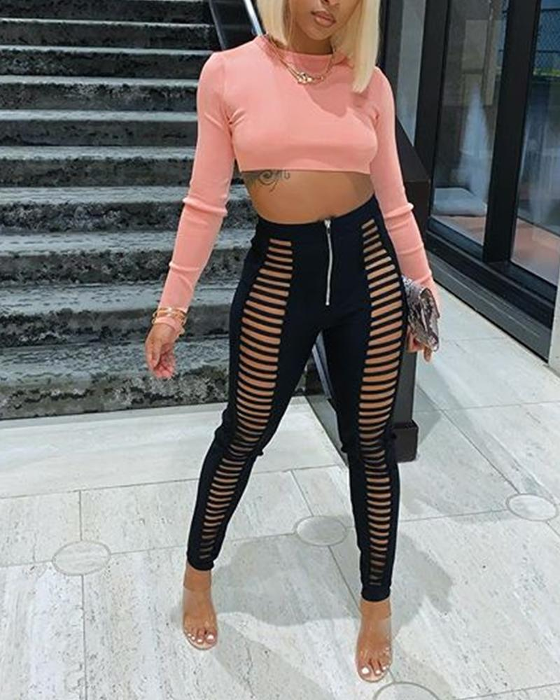 Solid Color Long Sleeve Pants Sets