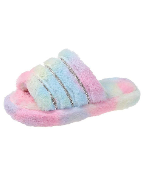 Studded Plain / Tie Dye Print Fluffy Slippers