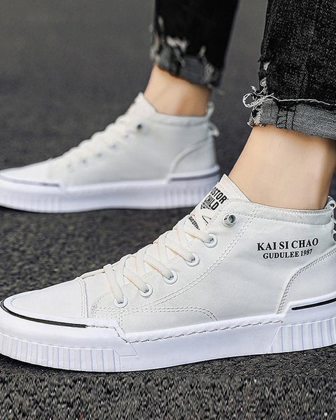 Color Block Lace-up Round Toe High Top Sneakers