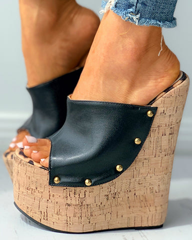 Peep Toe Beaded Decor Cork Wedge Sandals
