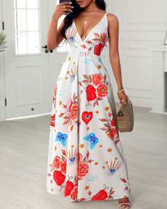 All Over Print Sleeveless Maxi Dress