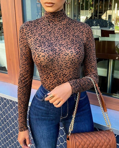 Cheetah Print High Neck Long Sleeve Top