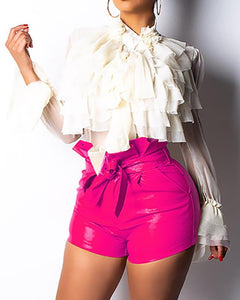 Paperbag Waist Belted PU Shorts