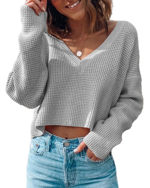 Solid Comfy V-neck Basic Knit