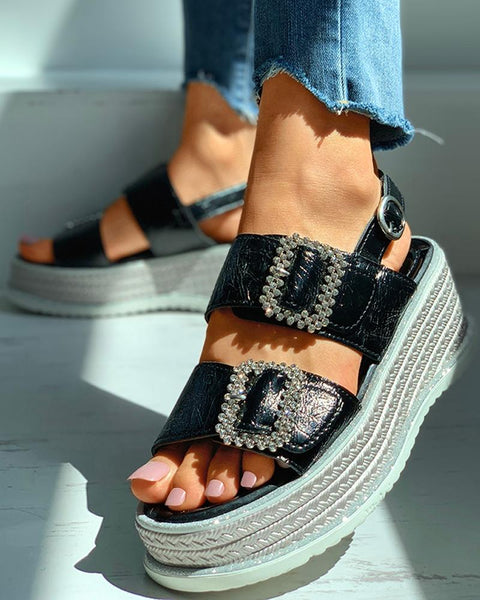 Studded Laser Open Toe Platform Sandals