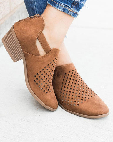 Solid Perforated Heeled Cutout Bootie