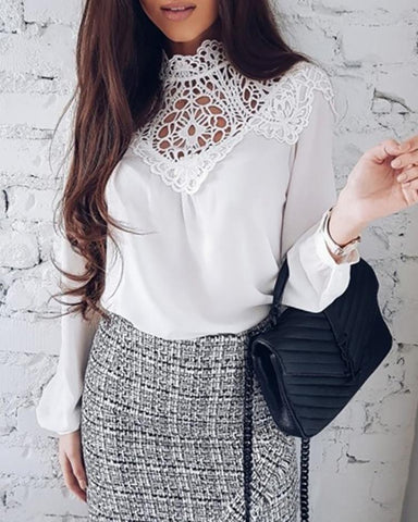 Lantern Sleeve Lace Patchwork Crochet Blouse