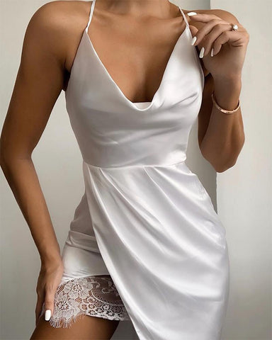Cowl Neck Lace Trim Cami Dress