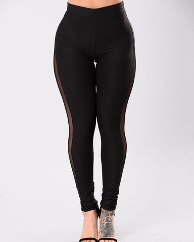 Black Mesh Panel High Waist Sport Leggings