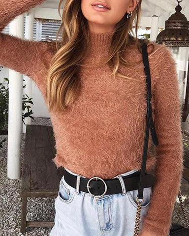 High Neck Faux Fur Sweater Top