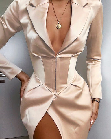 Solid Tight Waist Blazer Coat