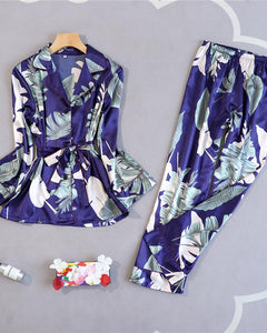 Long Sleeve Floral Print Bottoned Pajamas Set