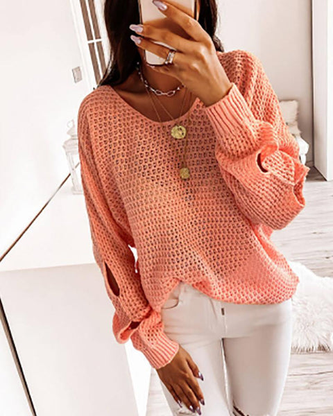 Solid Hollow Long Sleeve Sweater