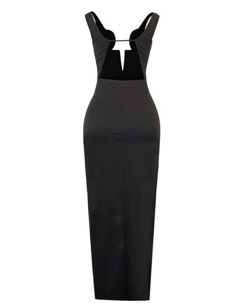 Thick Strap Plain High Slit Maxi Dress
