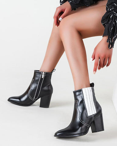Color Block Pointed-toe Chelsea Boots