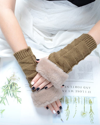 Solid Faux Fur Patchwork Gloves