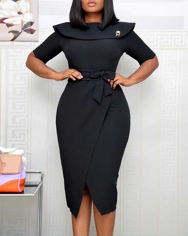 Tied Detail Half Sleeve Slit Work Dress