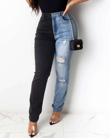 Colorblock Pocket Design High Waist Ripped Jeans