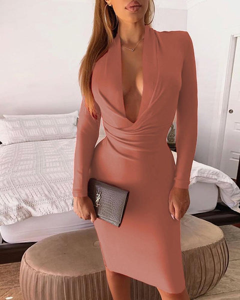Solid Color Hollow Long Sleeve Dress