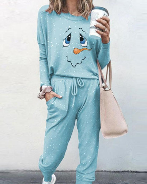 Snowman Printing Long Sleeve T-shirt With Pants Suit Sets