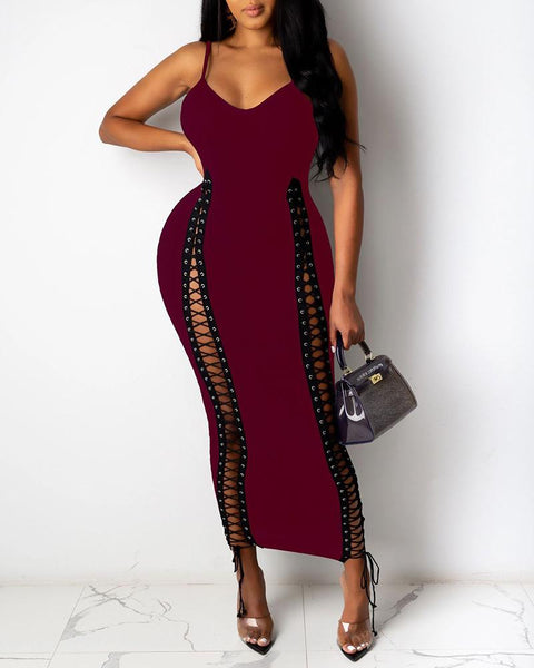 Spaghetti Strap Eyelet Lace-up Maxi Dress