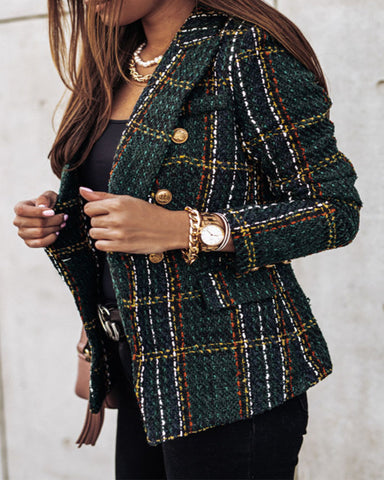 Tweed Double Breasted Blazer Coat