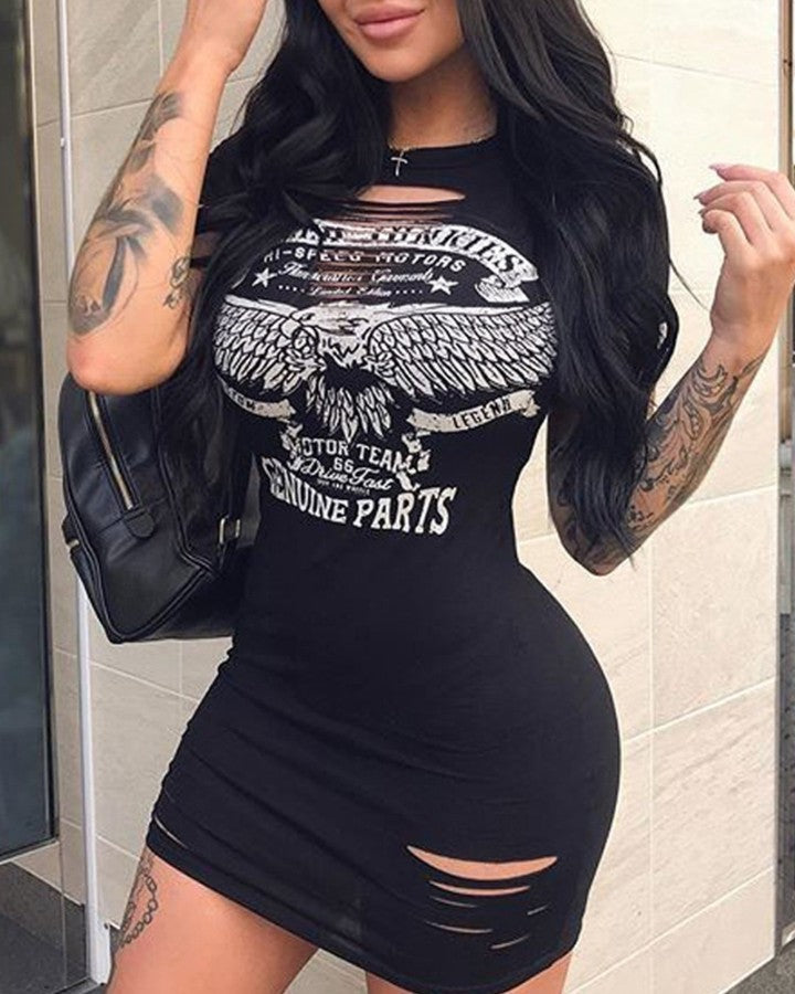 Logo Print Ripped Short Sleeve Skinny Mini Dress