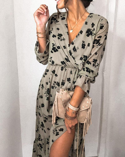 Floral Printing Long Sleeve Ruffle Hem Midi Slit Dress
